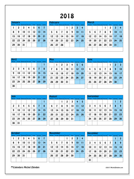 Calendar 2018 (40MS). Yearly calendar to print free.