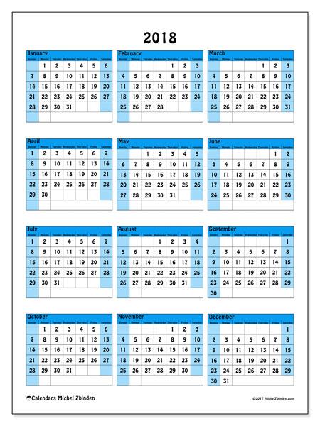 Calendar 2018 (40SS). Annual calendar to print free.