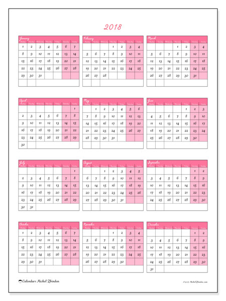 Calendar 2018 (42MS). Free printable yearly calendar.