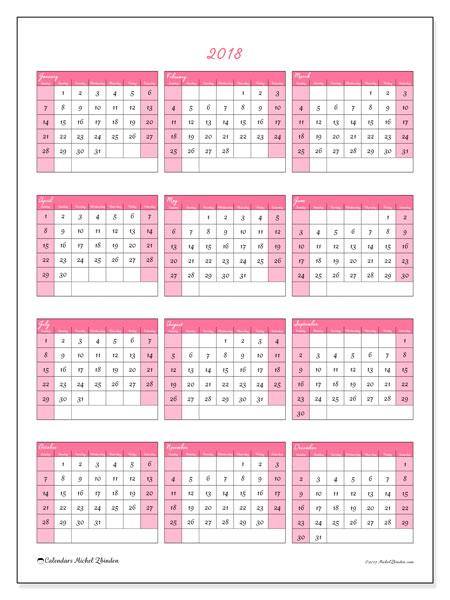 Calendar 2018 (42SS). Annual calendar to print free.