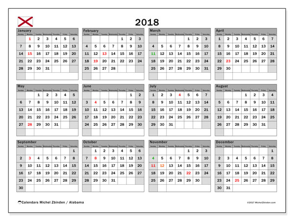 Calendar 2018, with the holidays of Alabama. Free printable monthly planner.