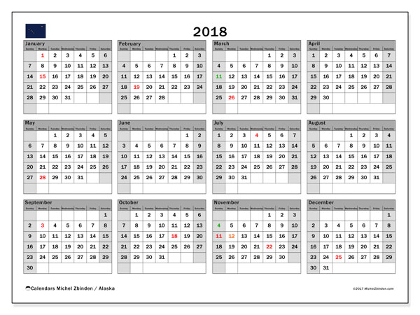 Calendar 2018, with the holidays of Alaska. Free bullet journal to print.