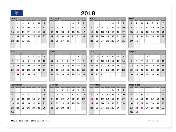 Calendar 2018, with the holidays of Alberta. Calendar for the month to print free.