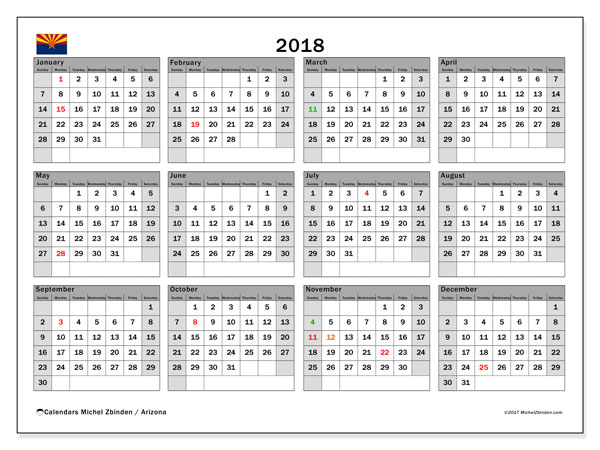Calendar 2018, with the holidays of Arizona. Free printable bullet journal.
