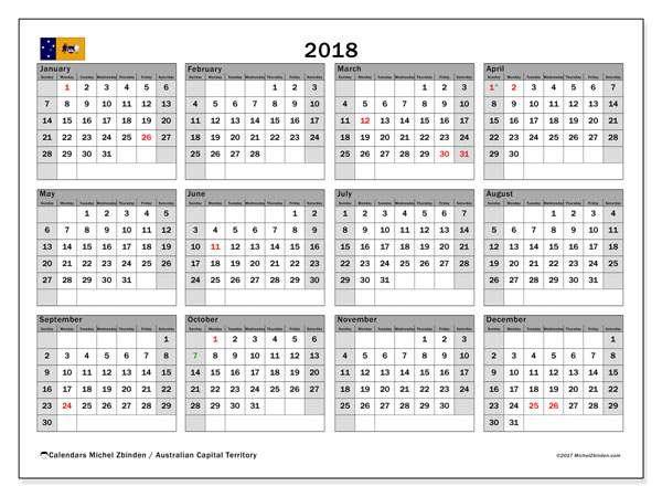 Calendar 2018, with the holidays of Australian Capital Territory. Free printable bullet journal.