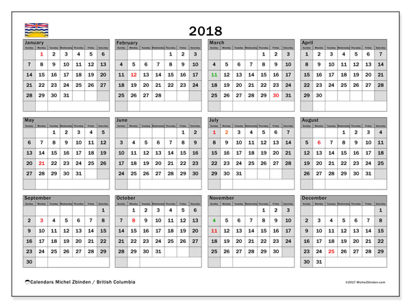 Free printable calendar 2018, with the holidays of British Columbia. Annual calendar