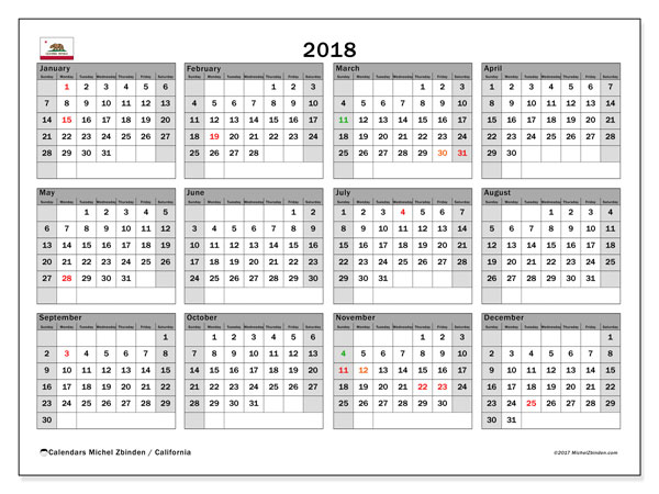 Calendar 2018, with the holidays of California. Calendar to print free.