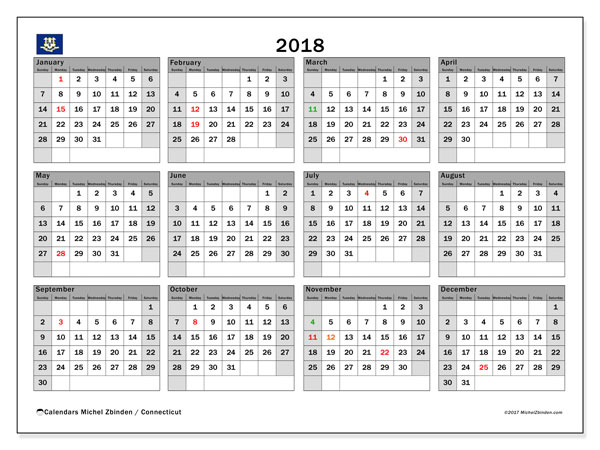 Calendar Connecticut, 2018