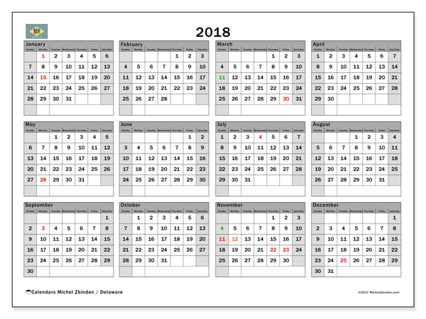 Calendar 2018, with the holidays of Delaware. Free bullet journal to print.