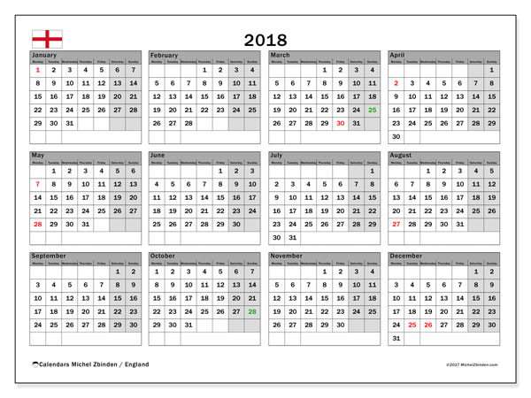 Calendar 2018, with the holidays of England. Free printable planner.