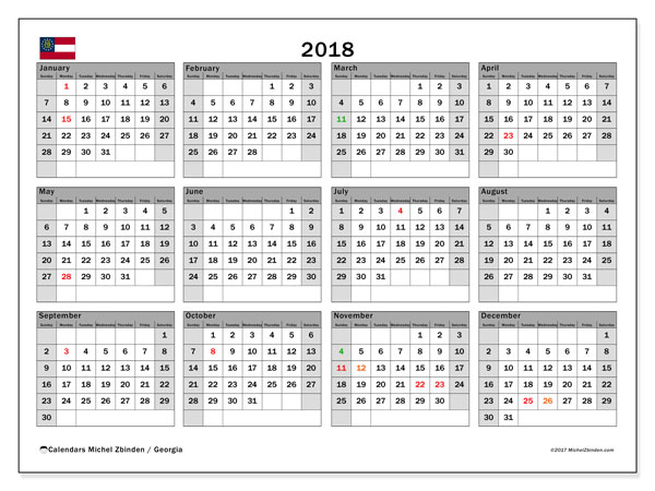 Calendar 2018, with the holidays of Georgia. Monthly calendar to print free.