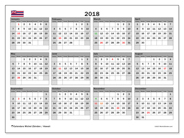 Calendar 2018 Hawaii Michel Zbinden En