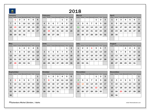 Calendar 2018, with the holidays of Idaho. Calendar for the month to print free.
