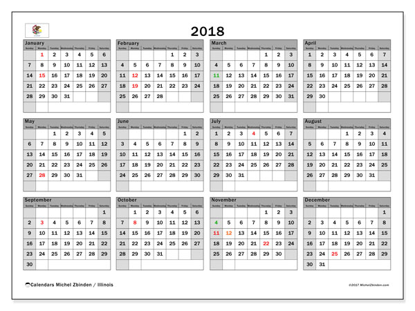 Calendar 2018, with the holidays of Illinois. Calendar for the month to print free.