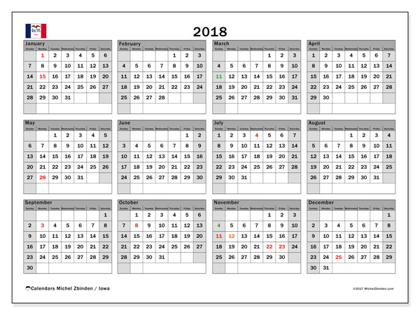 Free printable calendar 2018, with the holidays of Iowa. Annual calendar.