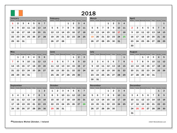 calendar 2018 with the holidays of ireland free printable bullet journal