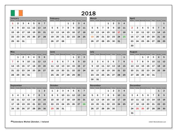 Calendar 2018, Ireland