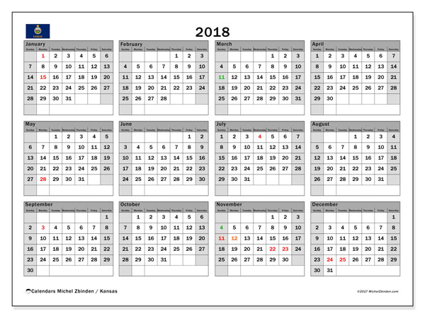 Calendar 2018, with the holidays of Kansas. Free calendar to print.