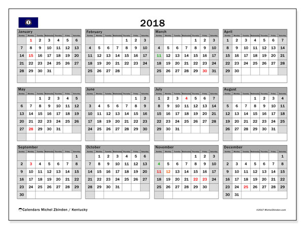 Calendar 2018, with the holidays of Kentucky. Free planner to print.