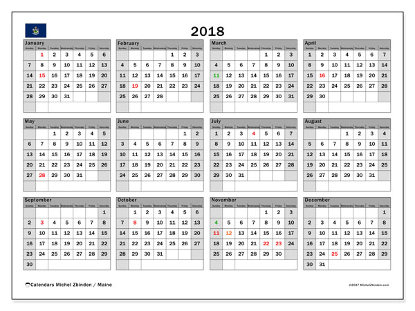 Free printable calendar 2018, with the holidays of Maine. Annual calendar.
