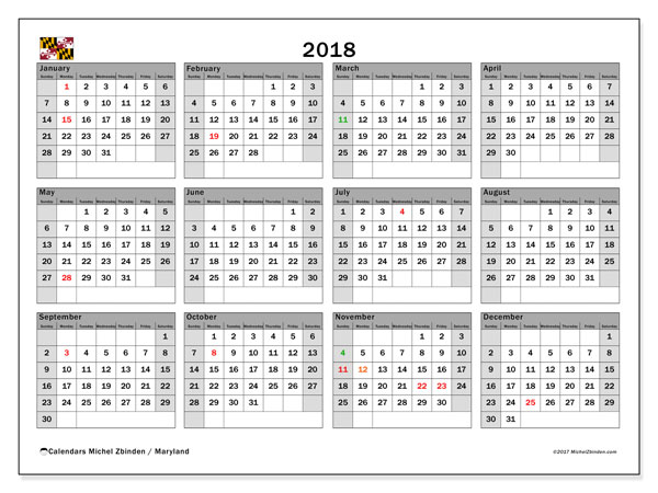 Calendar 2018, with the holidays of Maryland. Free calendar to print.