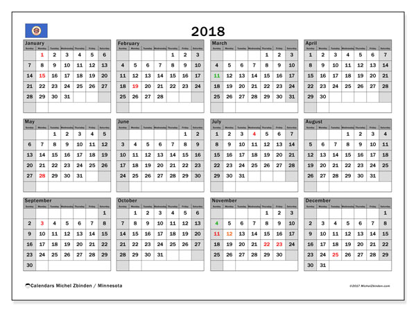Calendar 2018, with the holidays of Minnesota. Planner to print free.