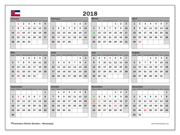 Calendar 2018, with the holidays of Mississippi. Free printable bullet journal.