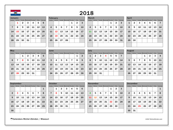 Calendar 2018, with the holidays of Missouri. Calendar to print free.