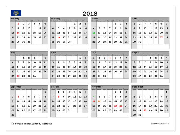 Calendar 2018, with the holidays of Nebraska. Free printable planner.