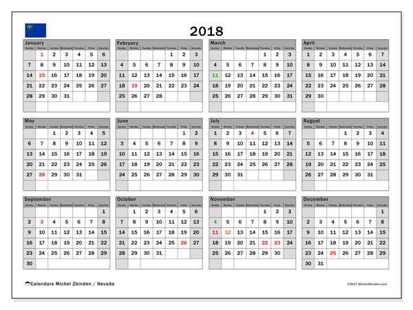 Calendar 2018, with the holidays of Nevada. Monthly calendar to print free.