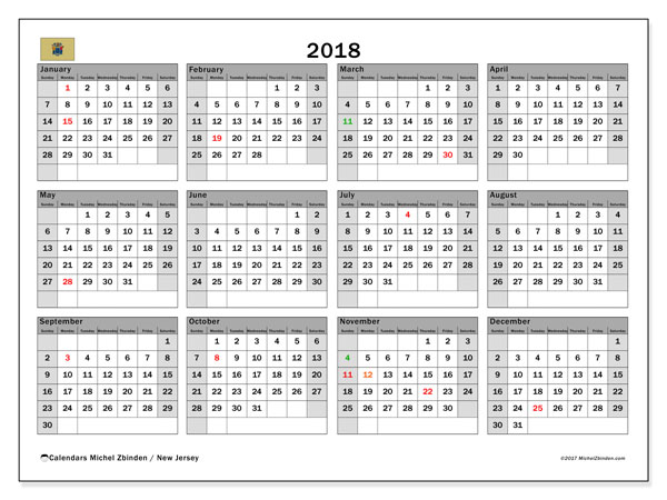 Calendar 2018, with the holidays of New Jersey. Free planner to print.