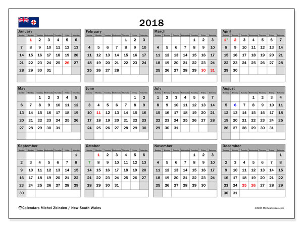 Calendar 2018, with the holidays of New South Wales. Free bullet journal to print.