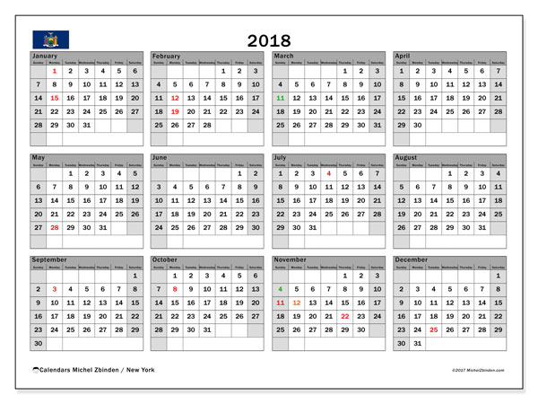 Calendar 2018, with the holidays of New York. Calendar to print free.