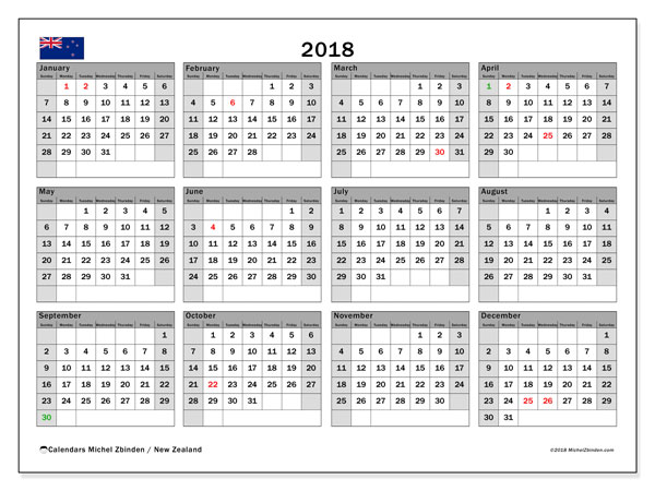 Calendar 2018, with the holidays of New Zealand. Calendar to print free.