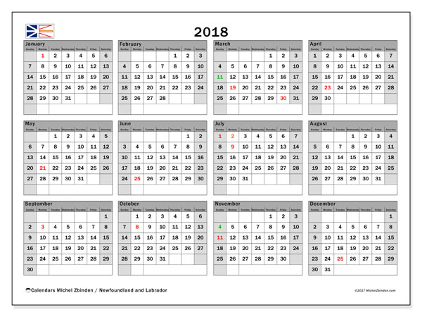 Calendar 2018, with the holidays of Newfoundland and Labrador. Free printable bullet journal.