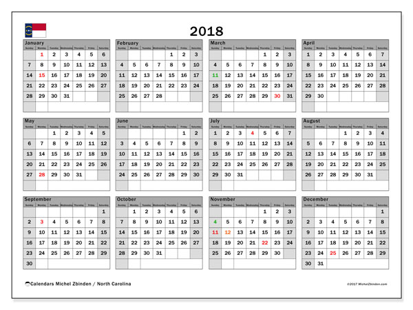 Calendar 2018, with the holidays of North Carolina. Free printable planner.