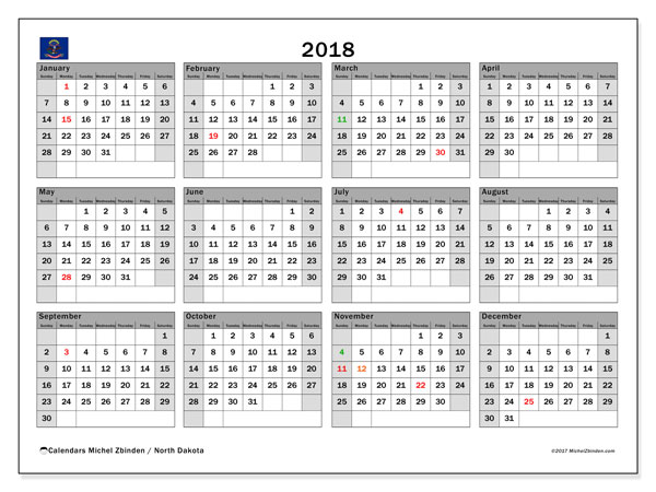 Calendar 2018, with the holidays of North Dakota. Calendar to print free.