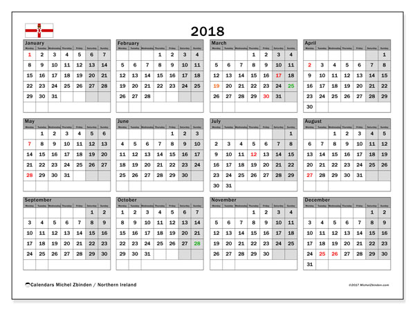 Free printable calendar 2018, with holidays for Northern Ireland