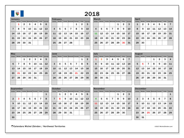 Calendar 2018, with the holidays of Northwest Territories. Free printable calendar.