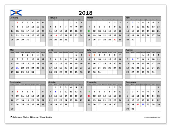 Calendar 2018, with the holidays of Nova Scotia. Monthly planner to print free.