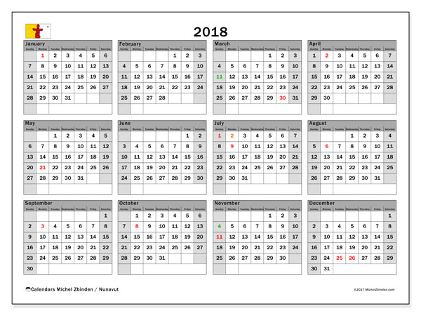Calendar 2018, with the holidays of Nunavut. Monthly calendar to print free.