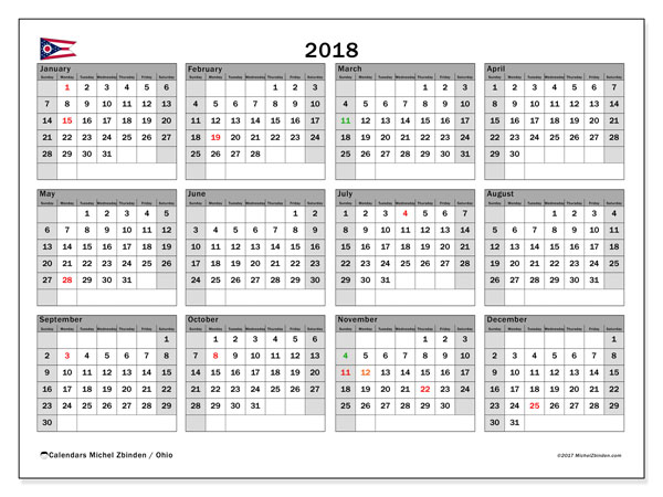 Calendar 2018, with the holidays of Ohio. Free printable monthly calendar.