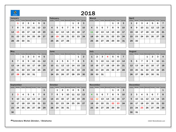 Calendar 2018, with the holidays of Oklahoma. Monthly planner to print free.