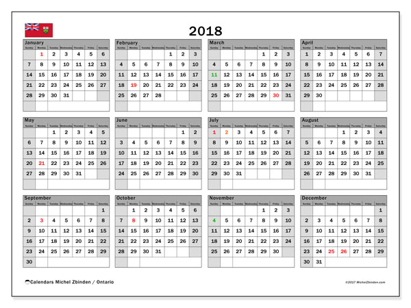 Calendar 2018, with the holidays of Ontario. Free printable calendar.