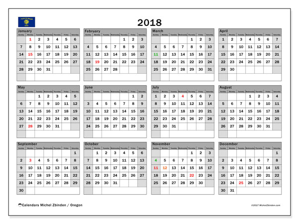 Calendar 2018, with the holidays of Oregon. Free printable bullet journal.