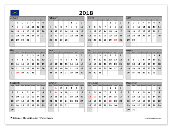 Calendar 2018, with the holidays of Pennsylvania. Free printable monthly planner.