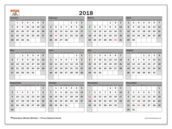 Calendar 2018, with the holidays of Prince Edward Island. Calendar to print free.