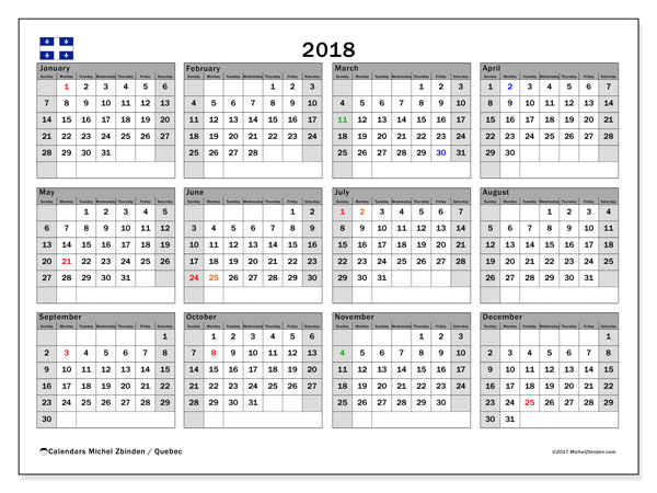 Free printable calendar 2018, with the holidays of Quebec. Annual calendar