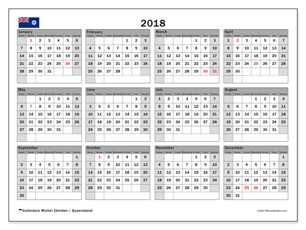 calendar 2018 with the holidays of queensland free printable monthly calendar