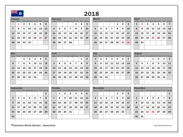 Calendar 2018, Queensland